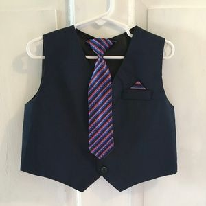 Fancy Midnight Blue Vest w/ Matching clip-on tie